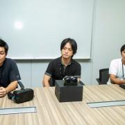 (写真左から)五十嵐和夫さん(VR担当:新規事業開発室 VR推進)、藤田誠司さん(VR担当:デバイス技術本部技術開発統括部)、新井英成さん(全体統括:コミュニケーション本部クリエイティブ部)