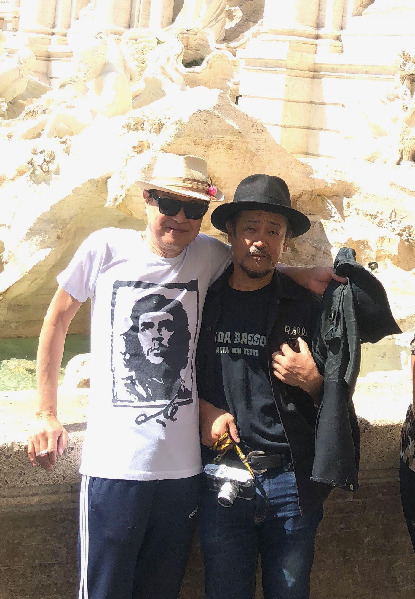 ROUTE 17 Rock'n'Roll ORCHESTRAの池畑潤二さんと大将、トレビの泉にて