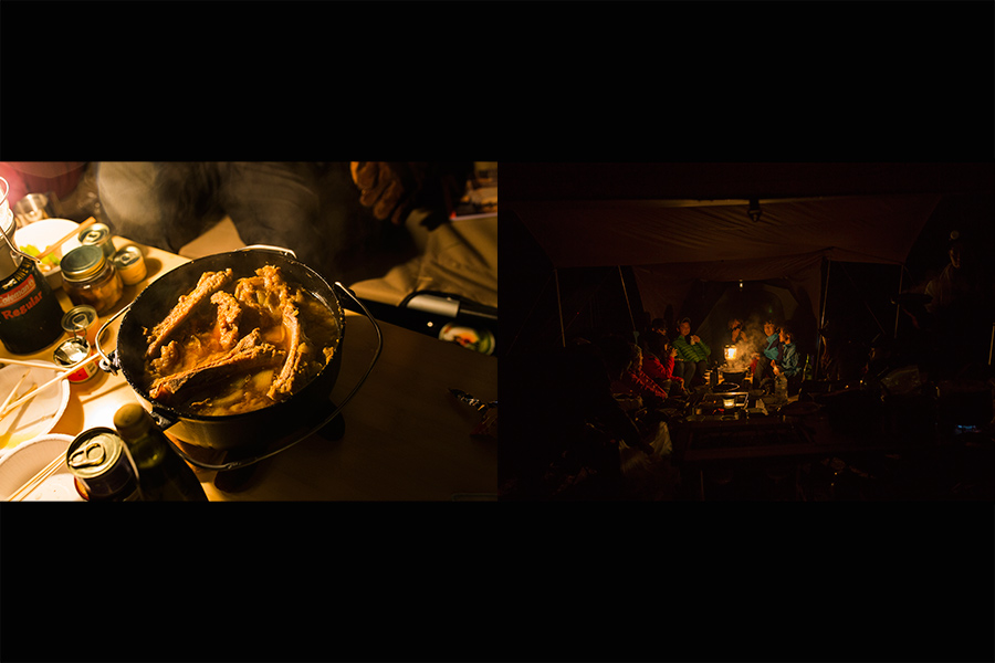 キャンプでのご飯と夜の風景 | Photo by Masahiro Saito